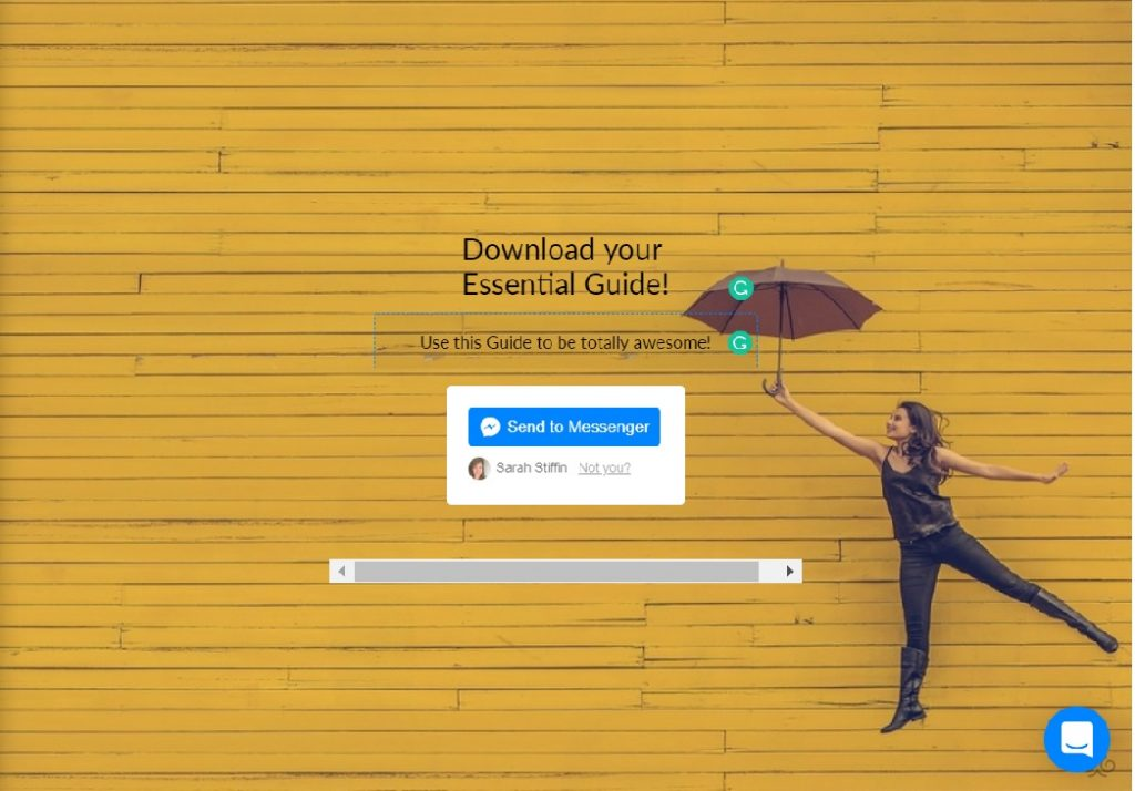 Example of ManyChat landing page with yellow brick wall and lady jumping with an open umbrella and call to action button saying Send to Messenger