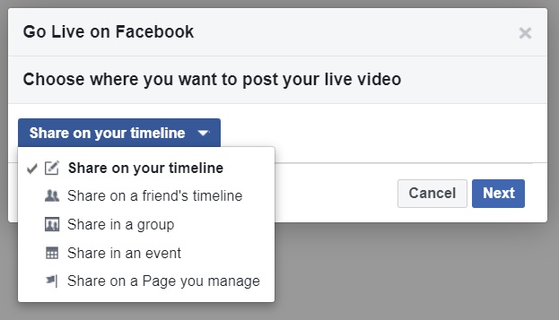 Showing where you want to post your live Video on Facebook