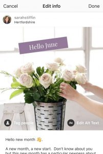 Instagram post of vase of flowers showing how to edit alt-text