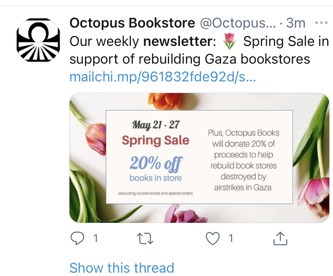 Tweet showing bookstore advertising their VIP content on their newsletter
