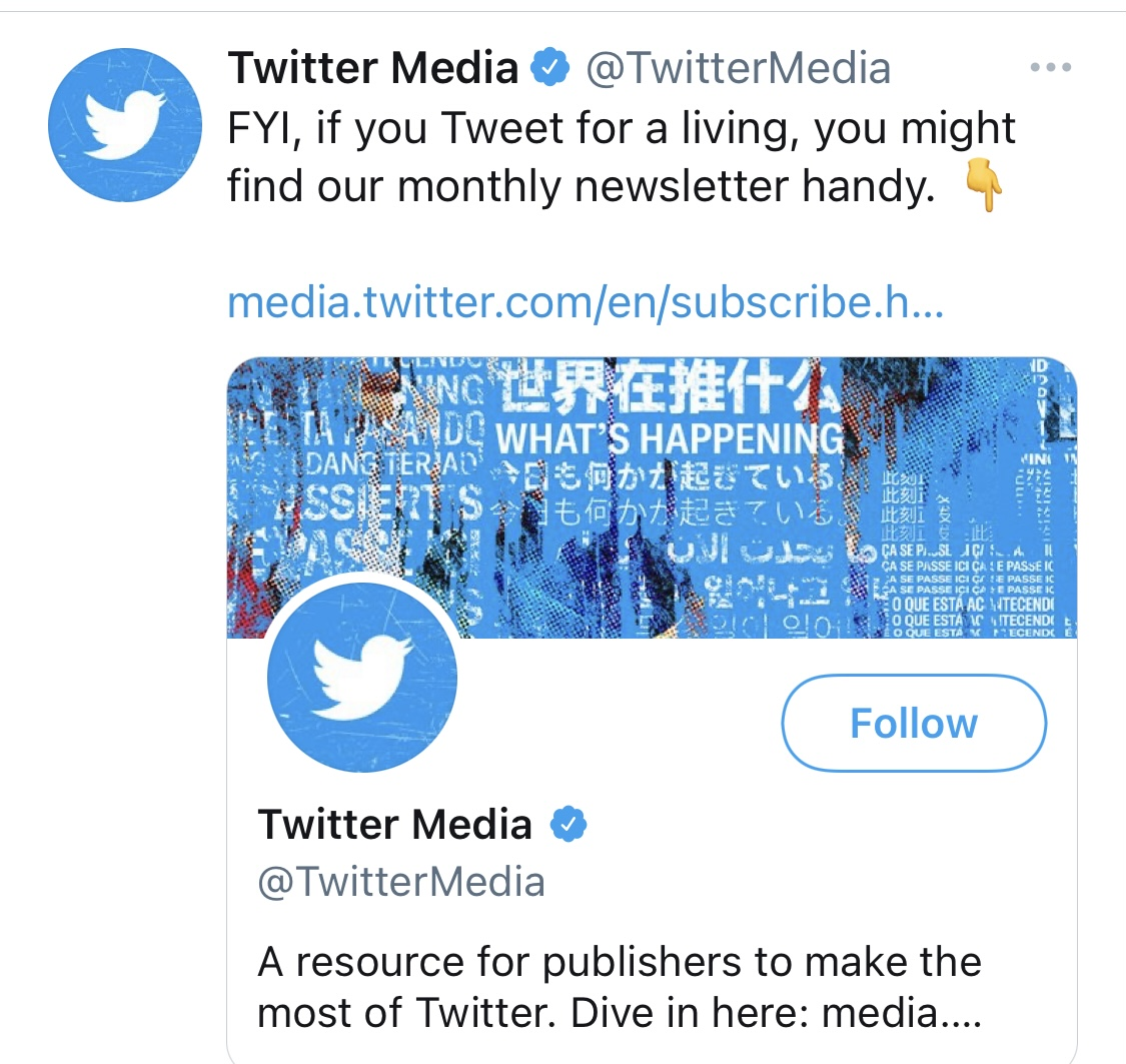 Tweet showing Twitter inviting people to sign up to newsletter