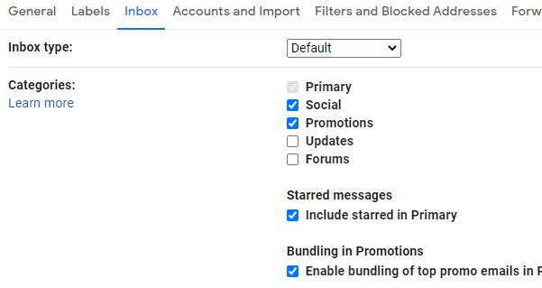Gmail categories in Settings