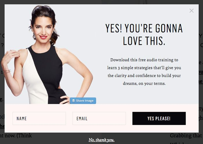 Blog Sarah Stiffin - example of landing page