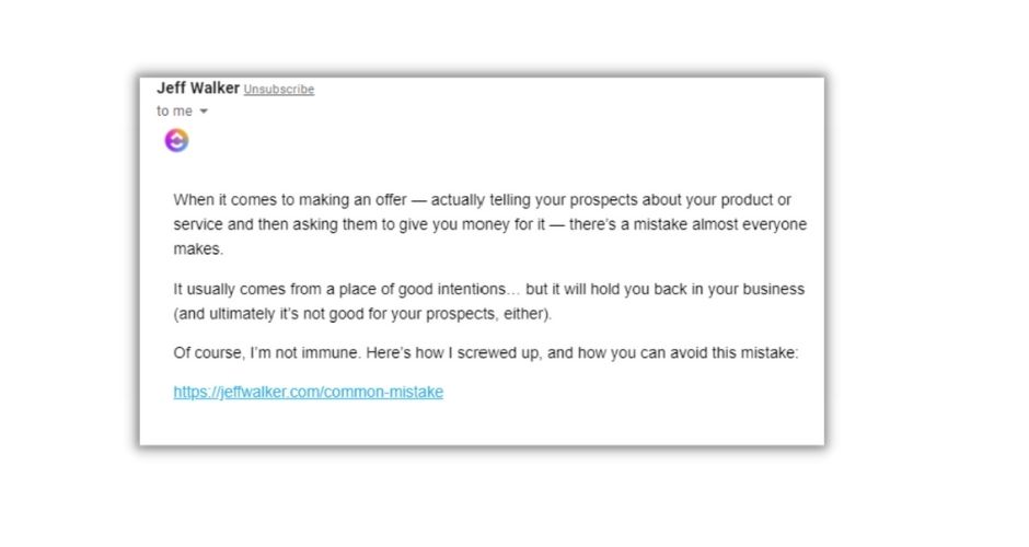Example of click through in email